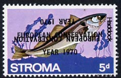 Stroma 1970 Fish 5d (Haddock) perf single with 'European Conservation Year 1970' opt doubled, one inverted unmounted mint*