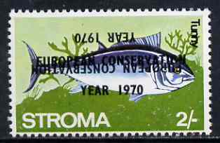 Stroma 1970 Fish 2s (Tunny) perf single with 'European Conservation Year 1970' opt doubled, one inverted unmounted mint*