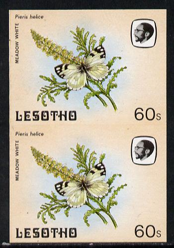 Lesotho 1984 Butterflies Meadow White 60s in unmounted mint imperf pair
