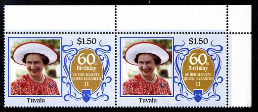 Tuvalu 1986 Queen's 60th Birthday $1.50 unmounted  mint corner pair, one stamp with large background flaw (R1/5)