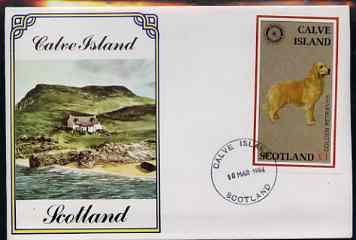 Calve Island 1984 Rotary - Dogs (Golden Retriever) imperf souvenir sheet (\A31 value) on cover with first day cancel