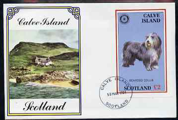 Calve Island 1984 Rotary - Bearded Collie imperf deluxe sheet (\A32 value) on cover with first day cancel