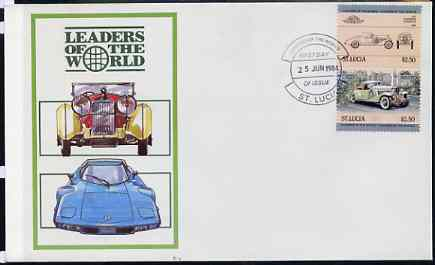 St Lucia 1984 Cars #1 (Leaders of the World) $2.50 Duesenberg 1932 SJ Roadster se-tenant pair on illustrated cover with first day cancel