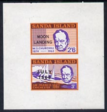 Sanda Island 1969 Churchill imperf m/sheet (3d & 2s6d values) opt'd Moon Landing unmounted mint, stamps on churchill, stamps on personalities, stamps on space