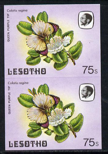 Lesotho 1984 Butterflies Queen Purple Tip 75s in unmounted mint imperf pair