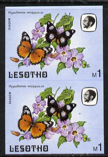 Lesotho 1984 Butterflies Diadem Butterfly 1m in unmounted mint imperf pair