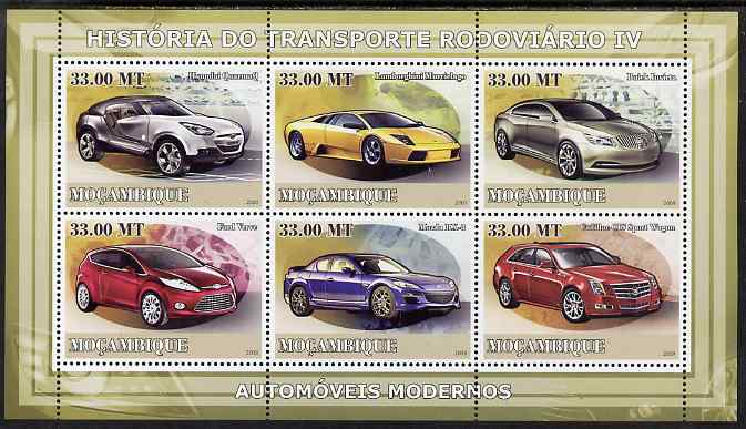Mozambique 2009 History of Transport - Road Transport #04 perf sheetlet containing 6 values unmounted mint