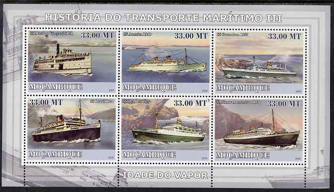 Mozambique 2009 History of Transport - Ships #03 perf sheetlet containing 6 values unmounted mint