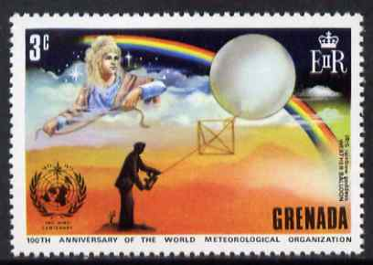 Grenada 1973 IMO & WMO Centenary 3c showing Weather Balloon & Rainbow unmounted mint, SG 559*