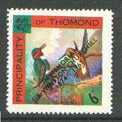 Thomond 1965 Humming Birds 6d (Diamond-shaped) with 'Sir Winston Churchill - In Memorium' overprint in black unmounted mint*