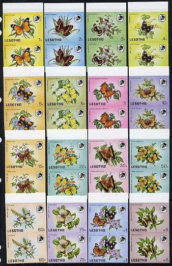 Lesotho 1984 Butterflies complete set of 16 values (incl scarce 15s) each in unmounted mint imperf matched marginal pairs