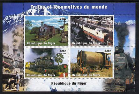 Niger Republic 1998 Trains of the World perf sheetlet containing 4 values unmounted mint. Note this item is privately produced and is offered purely on its thematic appeal