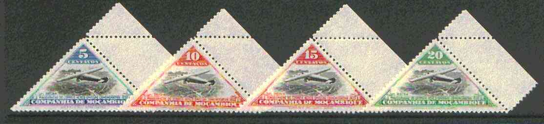 Mozambique Company 1935 Armstrong Whitworth 5c, 10c, 15c & 20c triangulars unmounted mint, SG 261-64