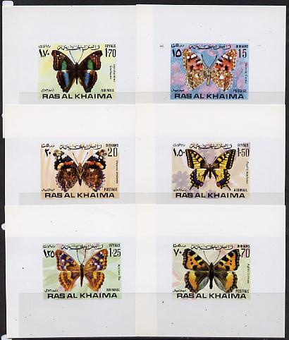 Ras Al Khaima 1971 Butterflies set of 6 unmounted mint imperf deluxe miniature sheets (white background), stamps on butterflies