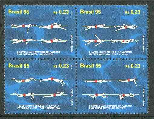 Brazil 1995 Swimming Championships se-tenant block of 4 unmounted mint, SG 2735-38