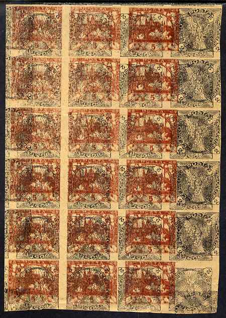 Czechoslovakia 1918 Windhover 2h imperf proof block of 24 in green doubly printed, one inverted with additional impression of 5h Hradcany in red-brown, on ungummed buff p...