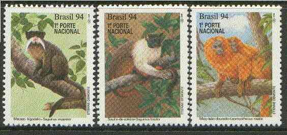 Brazil 1994 Endangered  Mammals (Tamarins) undenominated set of 3 unmounted mint SG 2640-42*