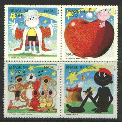 Brazil 1994 Christmas se-tenant block of 4 (Cartoon characters) unmounted mint SG 2687-90
