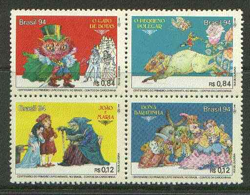 Brazil 1994 Fairy Tales se-tenant block of 4 unmounted mint SG 2675-78