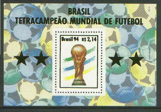 Brazil 1994 World Cup Football perf m/sheet 2r14 unmounted mint