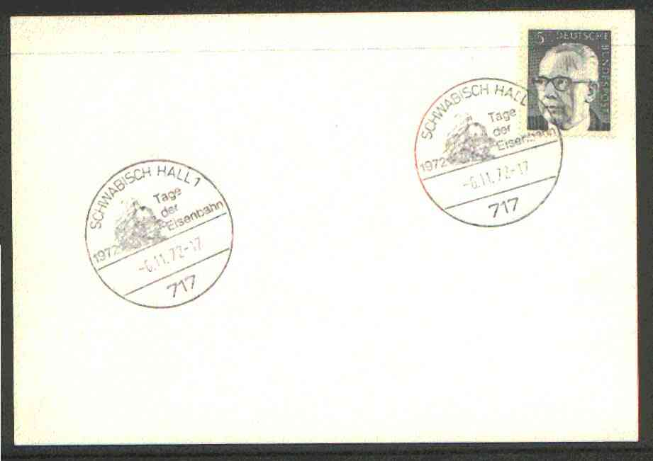 Germany - West 1972 unaddressed card with fine strike of Schwabisch Hall 1 (717) illustrated Railway cancel