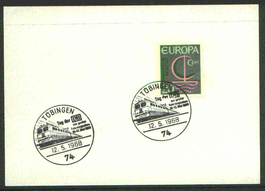 Germany - West 1968 unaddressed card with fine strike of T�bingen (74) illustrated Railway cancel