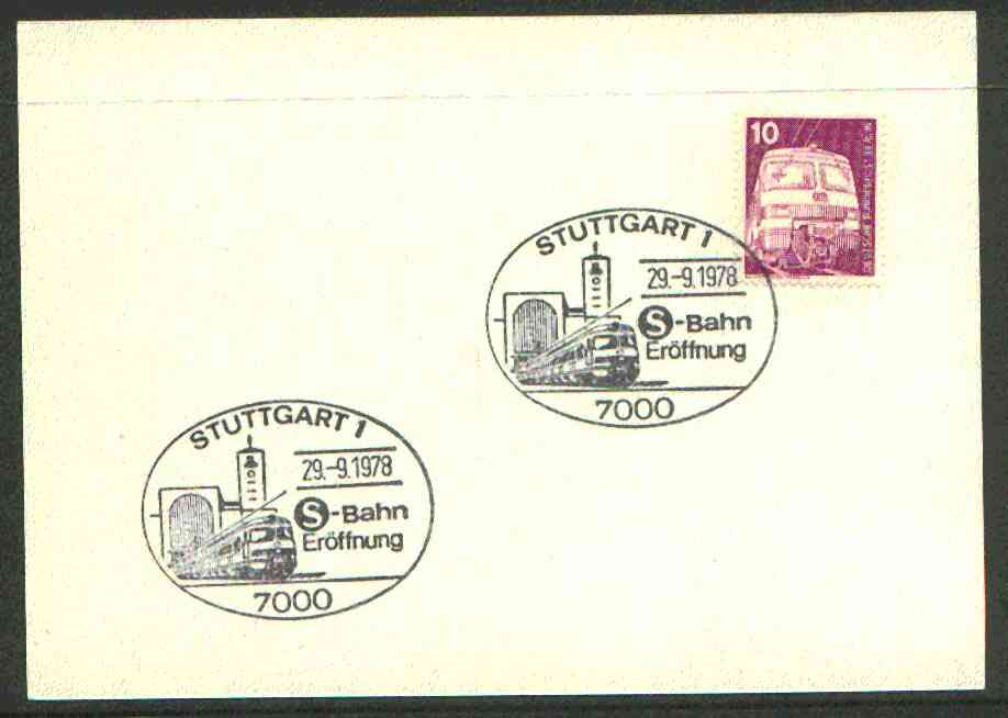 Germany - West 1978 unaddressed card with fine strike of Stuttgart 1 (7000) illustrated Railway cancel, stamps on railways