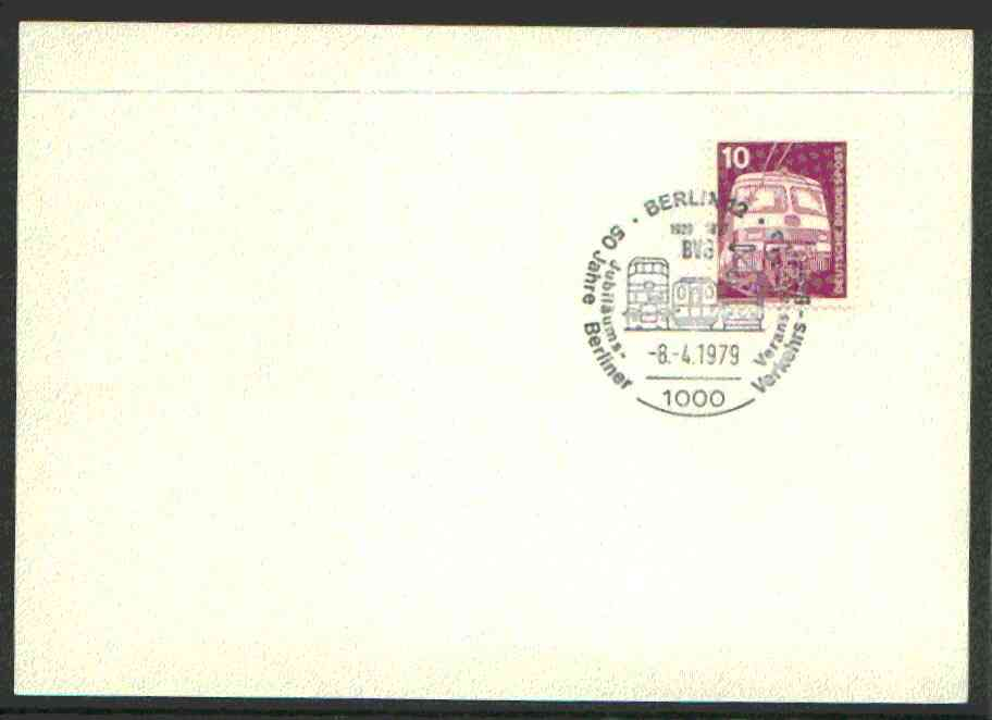 Postmark - West Germany 1979 unaddressed card with fine strike of Berlin 12 (1000) illustrated Railway cancel