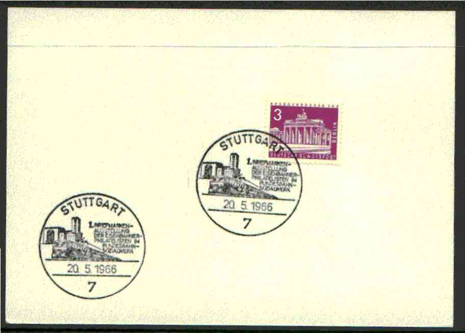 Germany - West 1966 unaddressed card with fine strike of Stuttgart (7) illustrated Railway cancel