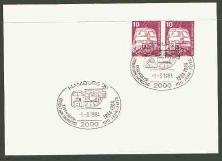 Germany - West 1984 unaddressed card with fine strike of Hamburg 50 (2000) illustrated Railway cancel
