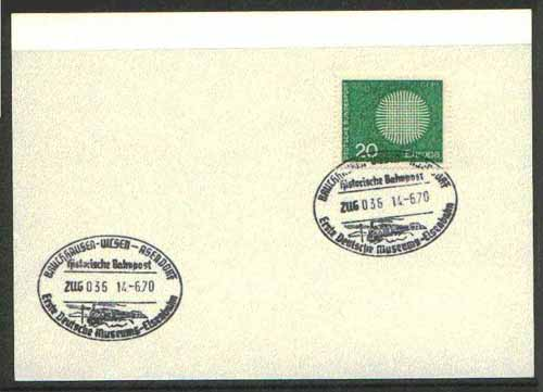 Germany - West 1970 unaddressed card with fine strike of Bruchhausen Uicsen Asendorf illustrated Railway cancel
