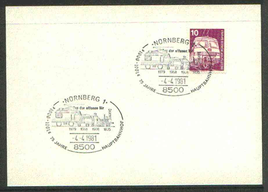 Germany - West 1974 unaddressed card with fine strike of Nornberg 1 (8500) illustrated Railway cancel