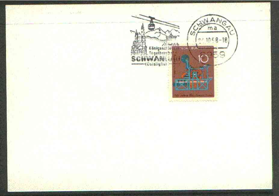 Germany - West 1972 unaddressed card with fine strike of Schwangau (8959) illustrated Cable Car cancel