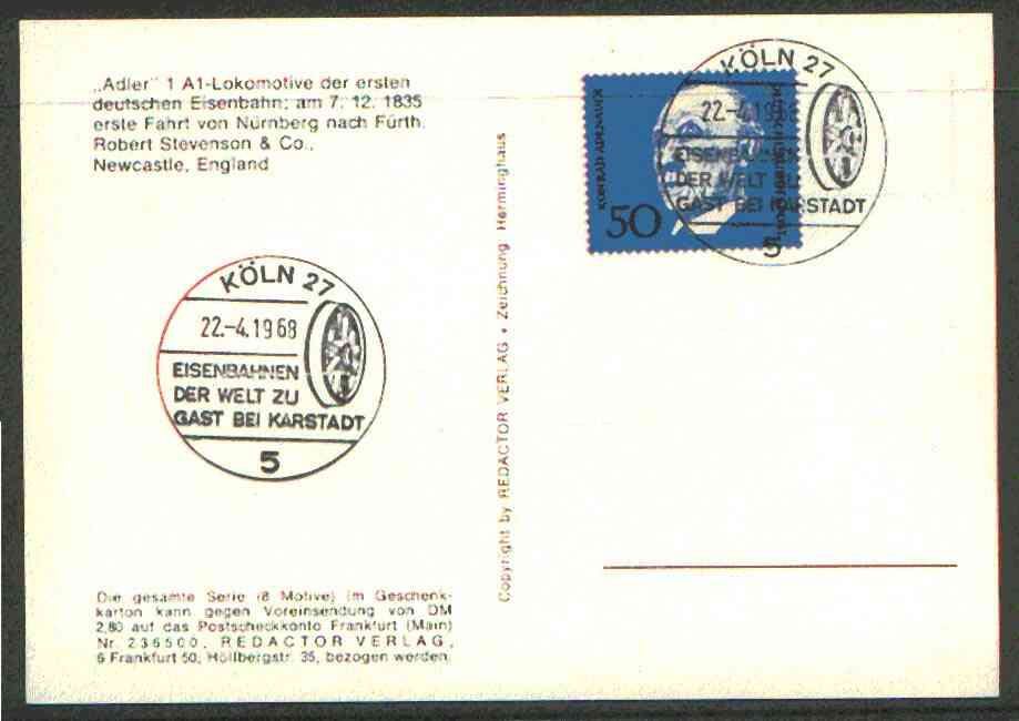 Germany - West 1968 unaddressed card with fine strike of K�ln 27 (5) illustrated Railway cancel (Flanged wheel)