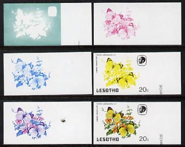 Lesotho 1984 Butterflies Lemon Traveller 20s value x 6 imperf progressive proofs comprising various individual or combination composites