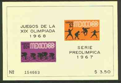 Mexico 1967 Olympic Games (3rd Issue - Postage) imperf m/sheet showing Fencing & Cycling unmounted mint, SG MS 1145b