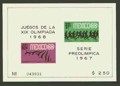 Mexico 1967 Olympic Games (3rd Issue - Air) imperf m/sheet showing Diving & Running unmounted mint, SG MS 1150a