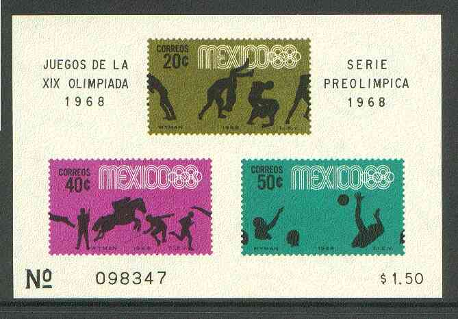 Mexico 1968 Olympic Games (4th Issue - Postage) imperf m/sheet showing Wrestling, Water Polo & Various Sports unmounted mint, SG MS 1164a