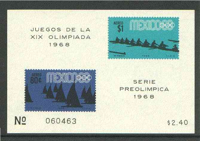 Mexico 1968 Olympic Games (4th Issue - Air) imperf m/sheet showing Yachting & Rowing unmounted mint, SG MS 1169a