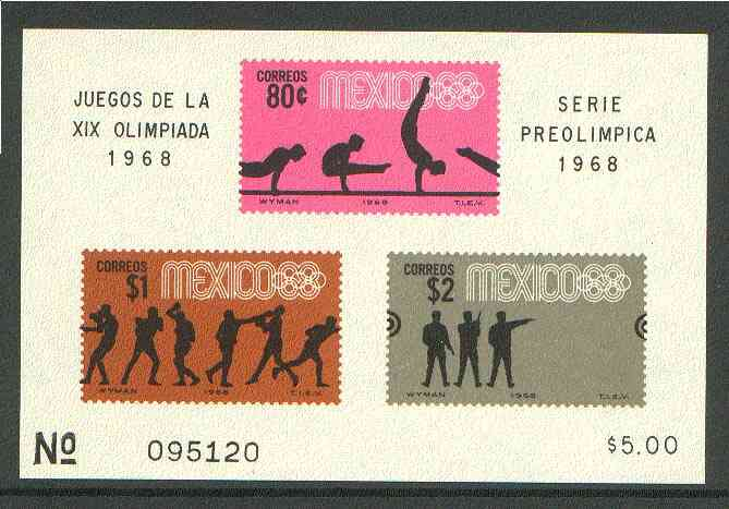 Mexico 1968 Olympic Games (4th Issue - Postage) imperf m/sheet showing Gymnastics, Boxing & Pistol shooting unmounted mint, SG MS 1164b
