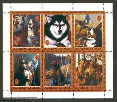 Ajman 2000 Dogs #01 perf sheetlet containing set of 6 values unmounted mint