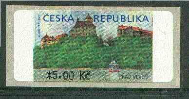 Czech Republic 2000 Veveri Castle self-adhesive label (5k denomination) showing the Castle above the Brno Dam unmounted mint