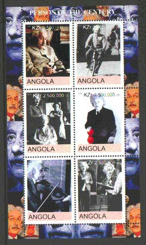 Angola 2000 Albert Einstein perf sheetlet containing set of 6 values unmounted mint
