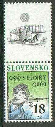 Czech Republic 2000 Sydney Olympics 18k Rifle Shooting unmounted mint se-tenant with label