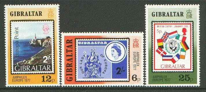 Gibraltar 1977 'Amphilex 77' Stamp Exhibition set of 3 unmounted mint SG 390-92*