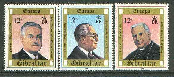 Gibraltar 1980 Europa Personalities set of 3 unmounted mint SG 433-35*