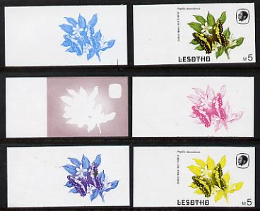 Lesotho 1984 Butterflies Christmas Butterfly 5m (top value) x 6 imperf progressive proofs comprising various individual or combination composites
