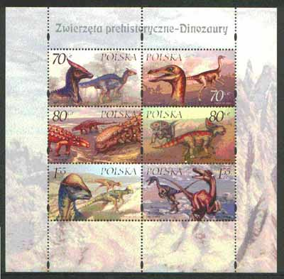 Poland 2000 Dinosaurs perf sheetlet containing set of 6 values unmounted mint