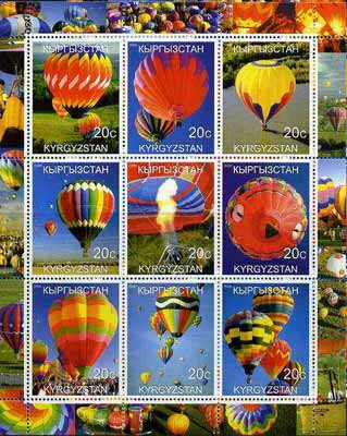 Kyrgyzstan 2000 Modern Balloons perf sheetlet containing set of 9 values unmounted mint