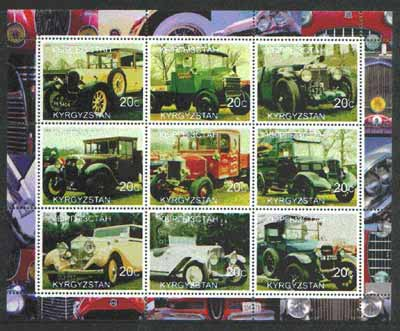 Kyrgyzstan 2000 Vintage Cars & Trucks perf sheetlet containing set of 9 values unmounted mint